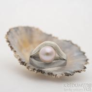Gemini silver steel perl - 53, šířka 6,3 mm hlava 14,3 mm, tloušťka 1,5 mm - Zásnubní prsten z nerezové oceli a stříbra