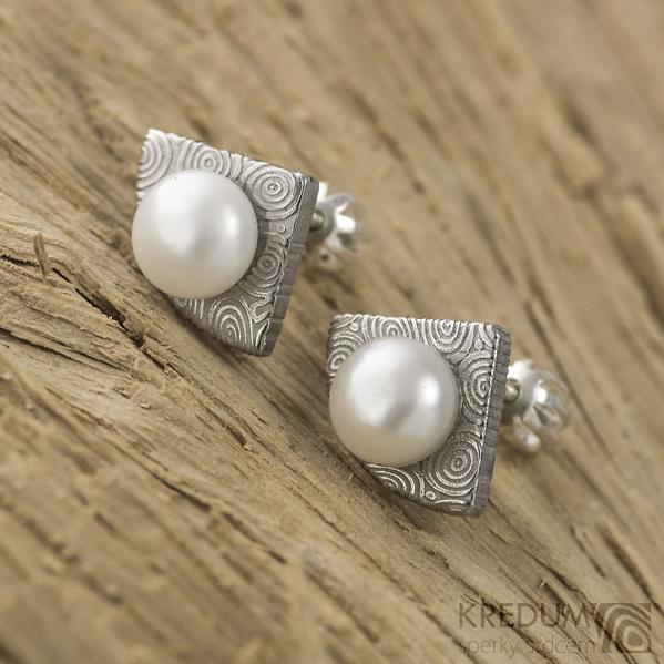 Kované damasteel naušnice a perly - Raníčky, produkt č.1655