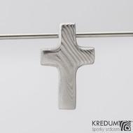 Křížek se skrytým očkem - Nerezová ocel damasteel, produkt S2218 - rozměr tohoto je 25 x 15 mm