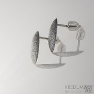 Puklík a diamant 2 mm - Kované damasteel náušnice