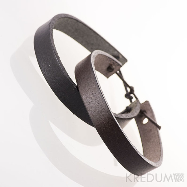 Kožený náramek - Manus 10 černý a hnědý