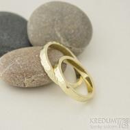 Golden draill yellow - 3 a 58, šířka 3,5 mm, tloušťka 1,5 mm, žluté zlato lesklé - Zlaté snubní prsteny - k 2327 (3)