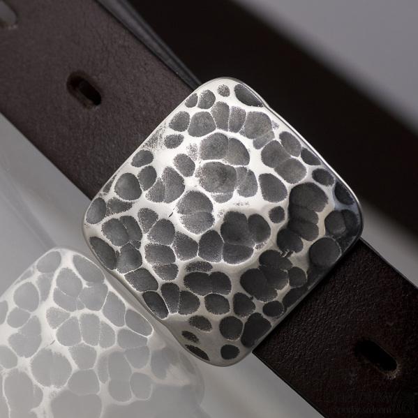 Kovaná nerez spona 3 cm - Kavalír 3X - provedení Draill a kožený pásek