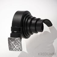 Kovaná nerez spona 3 cm - Kavalír 3X - Mřížka a černý kožený pásek