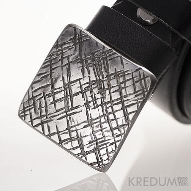 Kovaná nerez spona 3 cm - Kavalír 3X - Mřížka a kožený pásek