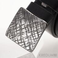 Kovaná nerez spona 3 cm - Kavalír 3X - provedení Mřížka a kožený pásek