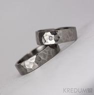 DRAILL + čirý diamant 1,7 mm - Prsten kovaný z nerezové oceli - lesklý