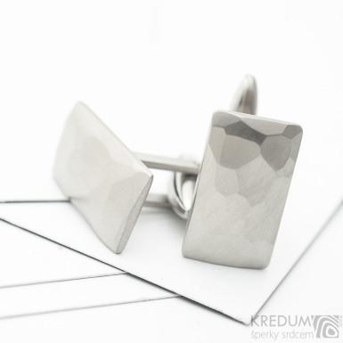 Skalák - Kované nerezové obdélníkové manžetové knoflíky - matné, SK3679