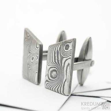 DESK - Kované manžetové knoflíčky damasteel, vzor dřevo zatmavené - SK3673
