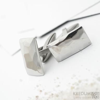 Skalák - Kované nerezové obdélníkové manžetové knoflíky - lesklé, SK3680