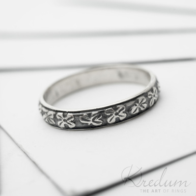 Retro snubní prsten 5 Jetel stříbro s patinou - SK3810