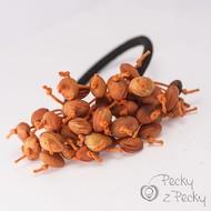 Pecková gumička do vlasů oranžové/černá