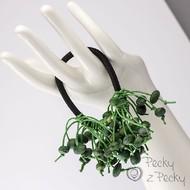 Pecková gumička do vlasů zelené/černá