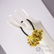 Pecková gumička do vlasů žluté/černá