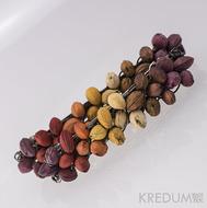 Podzimní duha - Spona do vlasů z třešňových pecek 10 cm