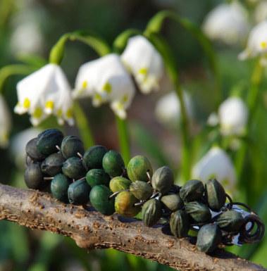 Jarní duha - Spona do vlasů z třešňových pecek 8 cm