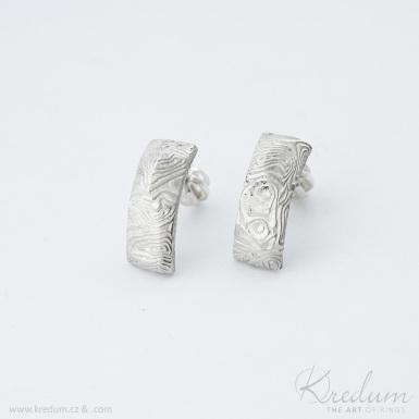 Moon Rock kolečka světlá - kované damasteel naušnice - SK3971