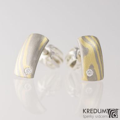 Náušnice - Mokume Moon a diamant 1,5 mm, produkt S1980