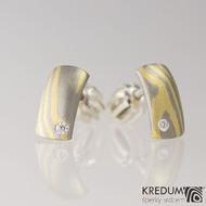 Náušnice - Mokume Moon a diamant 1,5 mm - zlato a palladium