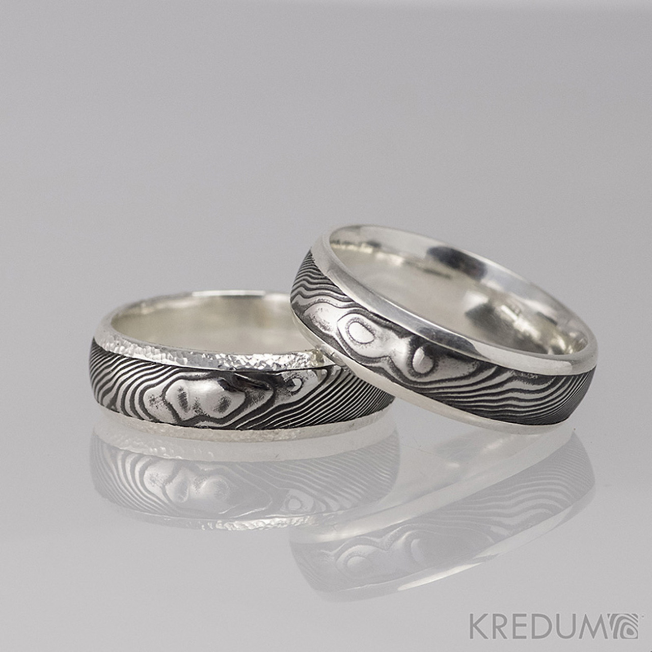 Stribrny Snubni Prsten A Damasteel Luna Drevo Vyroba Hand Made