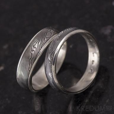 Stříbrné snubní prsteny a damasteel - Luna - dřevo
