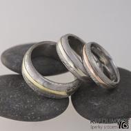Snubní prsten damasteel a zlato - Duori yelow, Duori white a Duori red