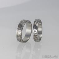 Draill + čirý diamant 1,5 mm - Prsten kovaná nerezová ocel, zatmavený a přeleštěný
