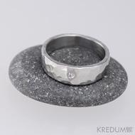Draill + čirý diamant 1,5 mm - Prsten kovaná nerezová ocel
