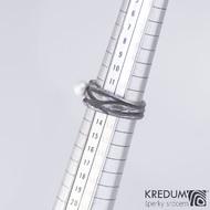 Zásnubní prsten damasteel a perla - Víla vod, velikost 53 - produkt S 1935
