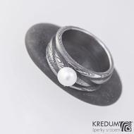 Zásnubní prsten damasteel a perla - Víla vod, velikost 53