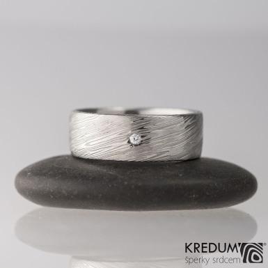 Snubní prsten ocel damasteel - PRIMA + čirý diamant 1,5 mm, velikost 50