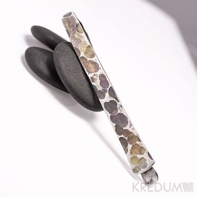 Kovaná nerezová spona na kravatu - Draill - zatmavená