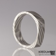Zásnubní prsten Mokume Gane - stříbro, palladium+diamant 1,7 mm (2)