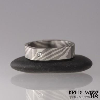 Zásnubní prsten Mokume Gane - stříbro, palladium+diamant 1,7 mm (3)