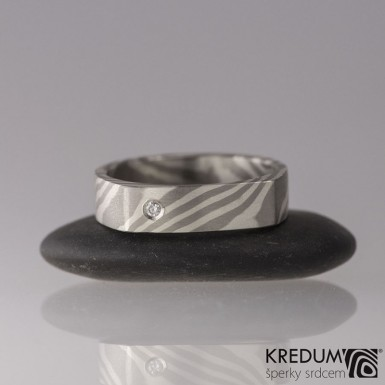 Zásnubní prsten Cleans - Mokume Gane - stříbro a palladium + diamant 1,7 mm