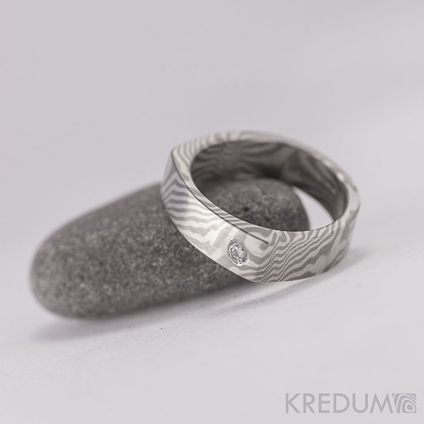 Mokume gane - stříbro, palladium+diamant 2mm (4)