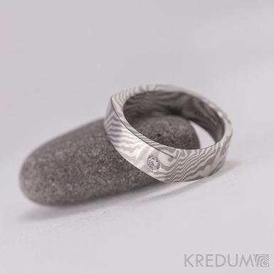 Zásnubní prsten Mokume Gane - stříbro a palladium + diamant 2 mm