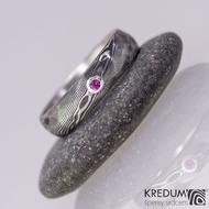 Natura a broušený kámen do stříbra - snubní prsten kovaná nerezová ocel damasteel