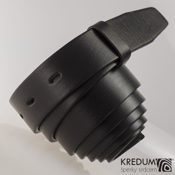 Kožený pásek 3X  - barva černá