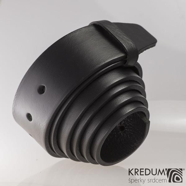 Kožený pásek 4X  - barva černá