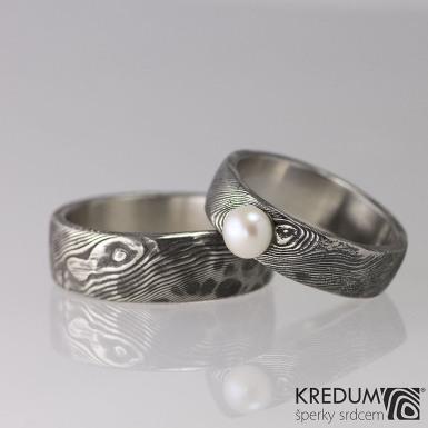 Snubní prsten nerezová ocel damasteel - Natura a perla