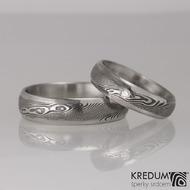 Prima line a čirý diamant 2 mm - Snubní prsten kovaná nerezová ocel damasteel