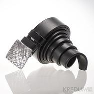 Kovaná nerez spona - Kavalír 3X - Mřížka + černý pásek