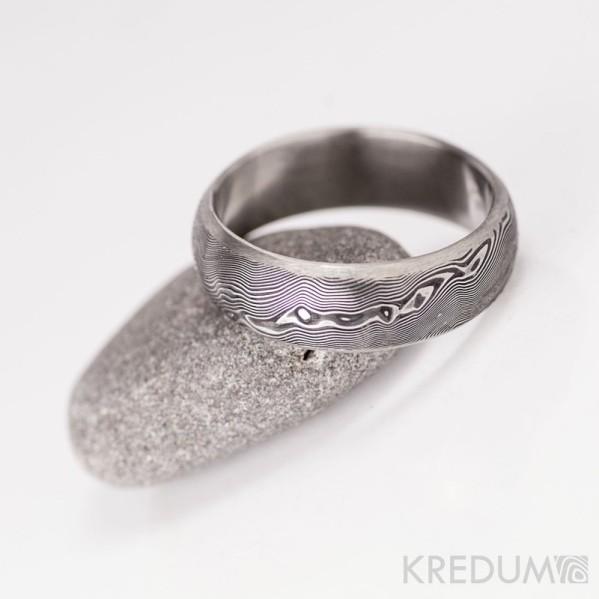Snubní prsten damasteel - Prima line, dřevo 75% tmavé