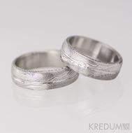Snubní prsten damasteel - Prima s linkou, dřevo 75% světlé
