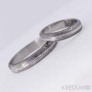 Kované snubní prsteny damasteel - Prima s linkou, 75% tmavé, dřevo
