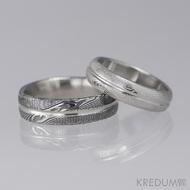 Snubní prsten damasteel - Prima s linkou, dřevo, pánský 75% tmavý, dámský 75% světlý