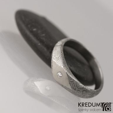 Kovaný zásnubní prsten damasteel - GRADA - velikost 52