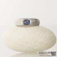 Kovaný prsten damasteel - Blueli, velikost 51,5