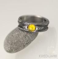 Zásnubní prsten damsteel - Víla vod a jantar_kabošon